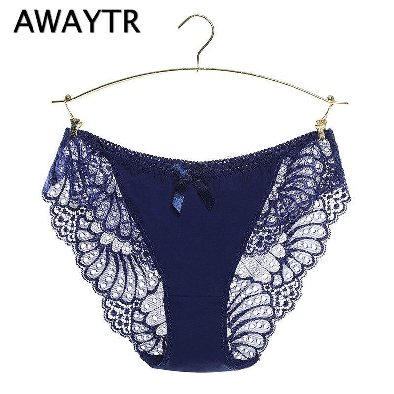 AWAYTR Women Sexy Panties Transparent Full Lace Bow Decoration Low-waist Gauze Sexy Underwear Solid Black Women Brifes