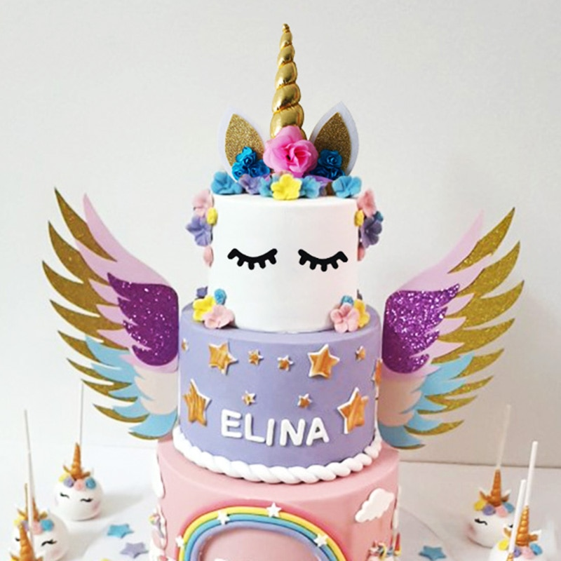 Alas de unicornio, decoración para pastel de decoración de bodas, decoración para el Día de San Valentín, suministros para fiestas, suministros para horneado