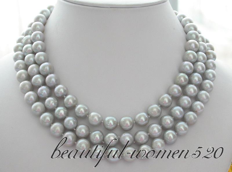 Collar de perlas de agua dulce gris redondo de 11 MM Z3169 AA + + + 3ROW