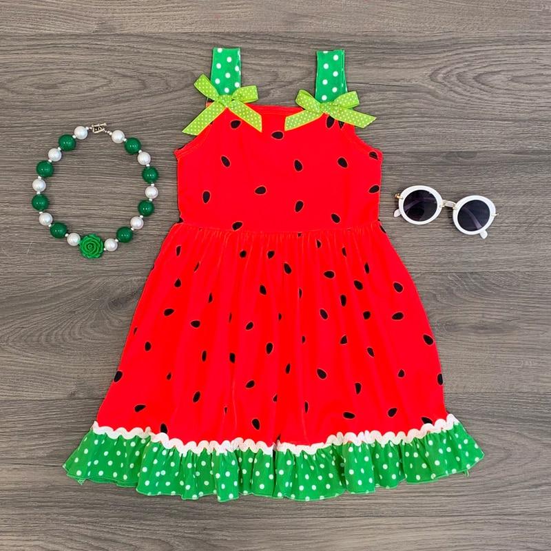 ¡Nuevo estilo 2019! vestido sin mangas para niñas. Vestido para niñas. Vestido de verano con estampado de sandía y puntos verdes. Vestido para niñas de 1 a 5 años