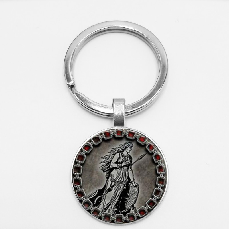 Goddess Charm Pendant Keychain Freya Norse Jewelry Glass Cabochon Jewelry Keyring Pendant Trinkets Jewelery