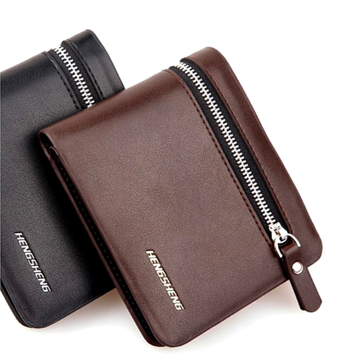 Fashion New Men Wallets Personality Zipper Quality PU Leather Black Brown Business 2 SIM Credit Card