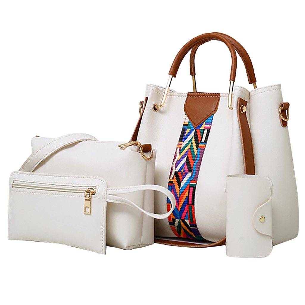 OCARDIAN Women Handbags 4Pcs Women Printing Retro Pattern Hand Bag Solid Color Shoulder Bag 2019 New Design Shoulder Bag 932917