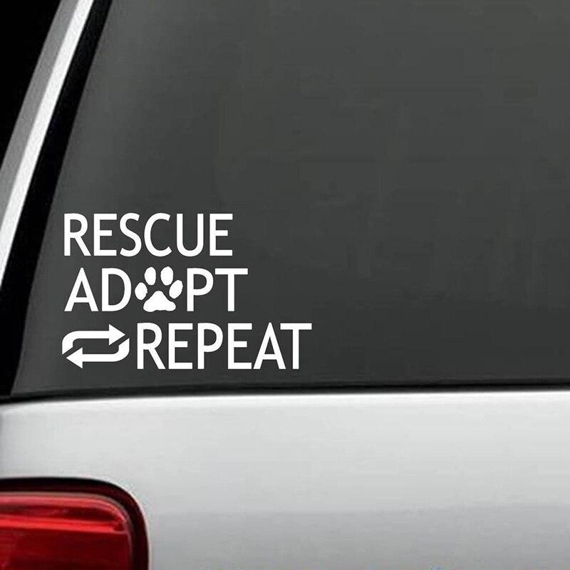 Adhesivo adhesivo de rescate para perros repetidos, regalo de refugio para animales, accesorios para mascotas, adhesivo creativo para coche clásico