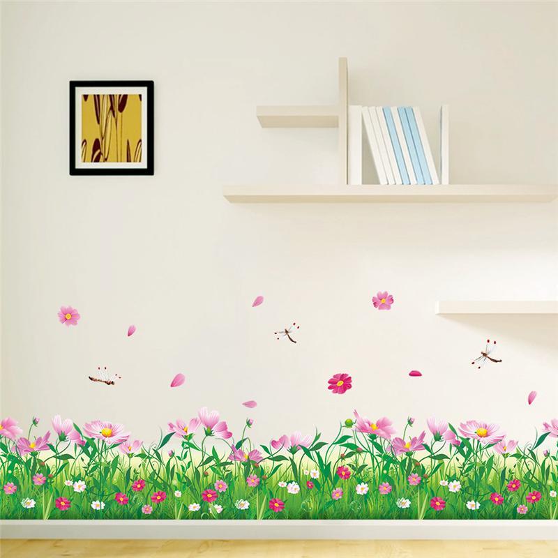 Наклейки для стен, декоративные наклейки для дома, цветы, ограждения, плинтус, 3D тату, рукоделие, настенное искусство 048