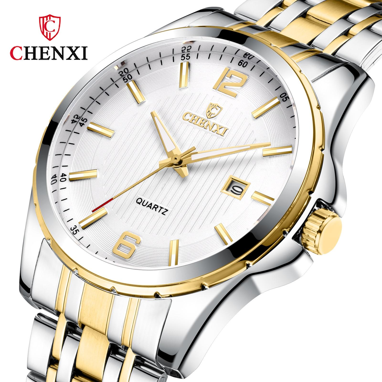 Moda chenxi marca superior relógios de luxo masculino quartzo analógico militar masculino dourado relógio de pulso à prova dwaterproof água relogio masculino