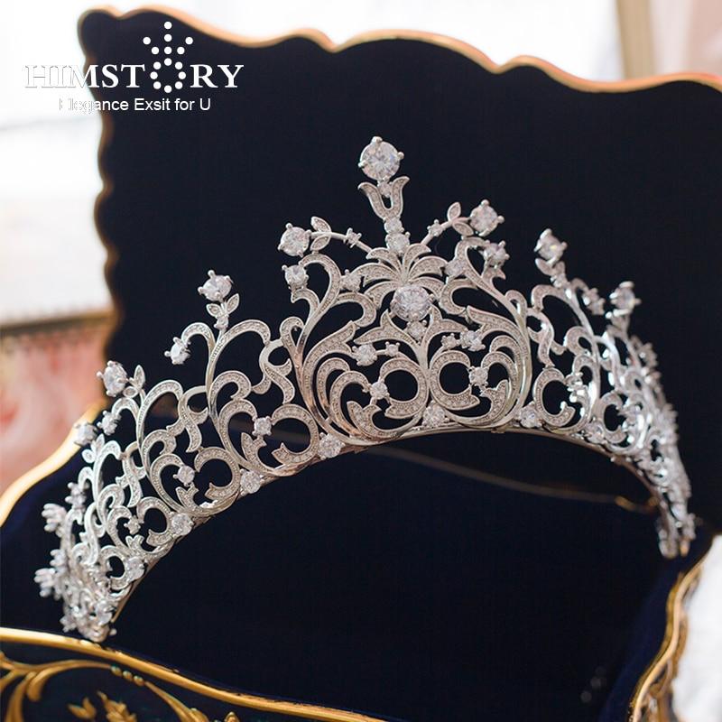 Full CZ European Retro Gold Vetiver Irises Wedding Hair Crown Stunning Cubic Zirconia Bridal Quinceanera Pageant Tiaras Crown
