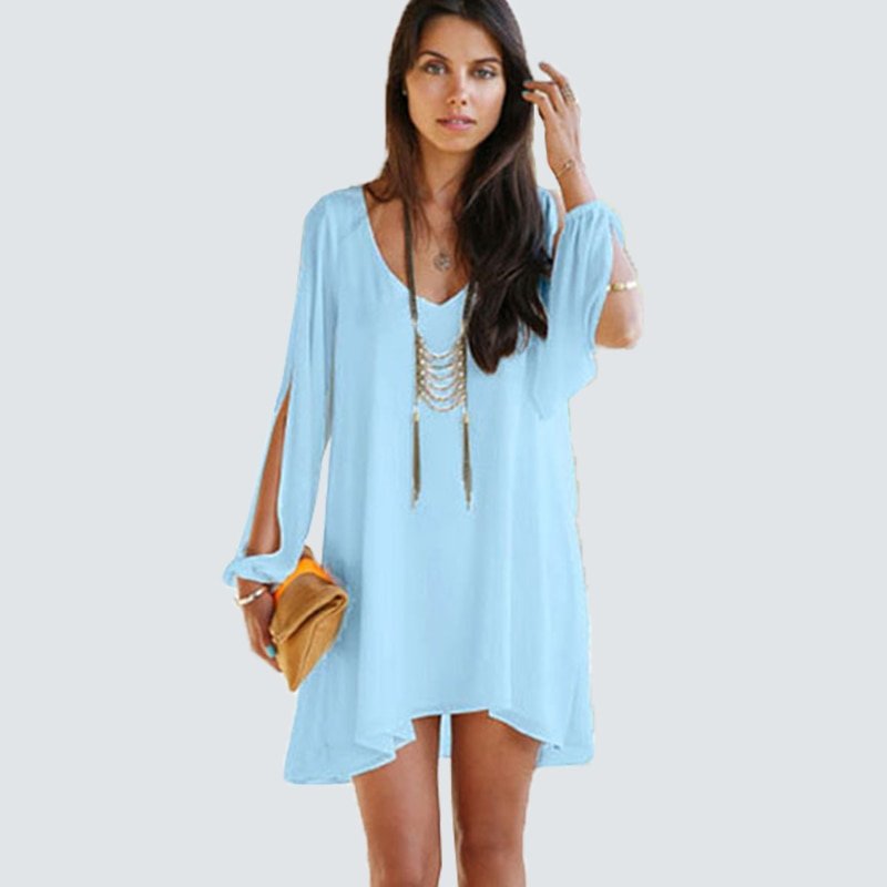 Women Sexy V Neck Chiffon Shift Dress Casual Split Sleeve Loose Mini Dress HS01