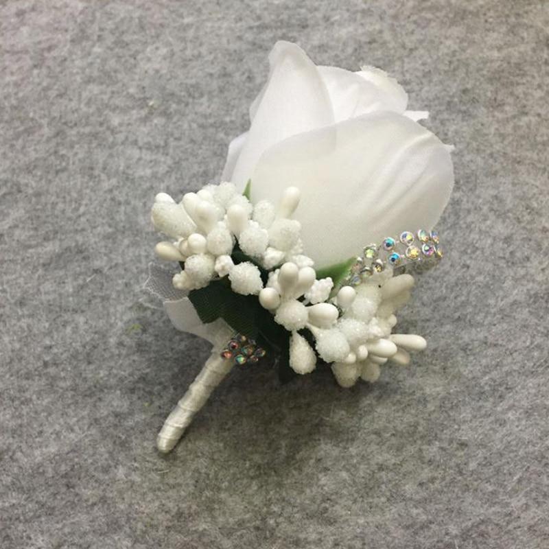 Ramillete marfil rojo para padrino de boda, accesorios para el novio, padrino de boda, flor de rosa de seda, Pin de decoración de broche