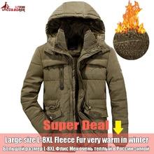 Winter Jacket Men 6XL 7XL 8XL Thick Warm Parka Coat Casual Fleece Fur Hooded windbreaker Military Jackets Man outwear clothes