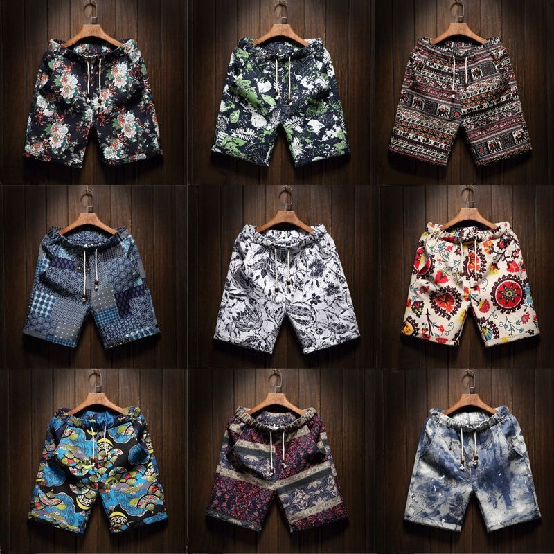 9 Color Men's Casual Beach Floral Shorts 2020 New Summer Fashion Straight Cotton Linen Bermuda Hawaiian Short Pants Male Brand