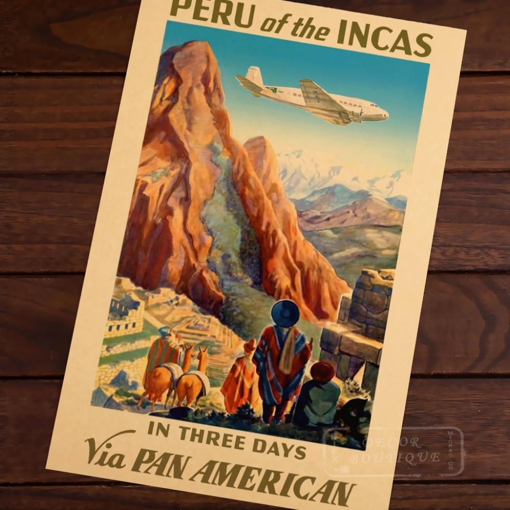 PERU OF THE INCAS PAN AMERICAN machu picchu Vintage Retro Kraft Decorative Poster DIY Wall Canvas Sticker Home Bar Posters Decor