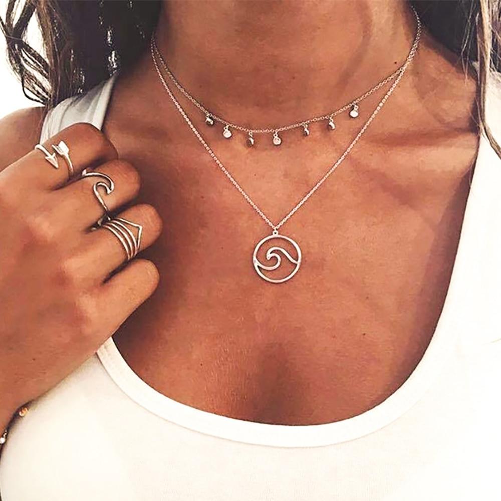 Bohemios, collar multicapa, moneda dorada, gargantillas para Mujer, colgante con abalorio, Collares, Collares para Mujer 2018