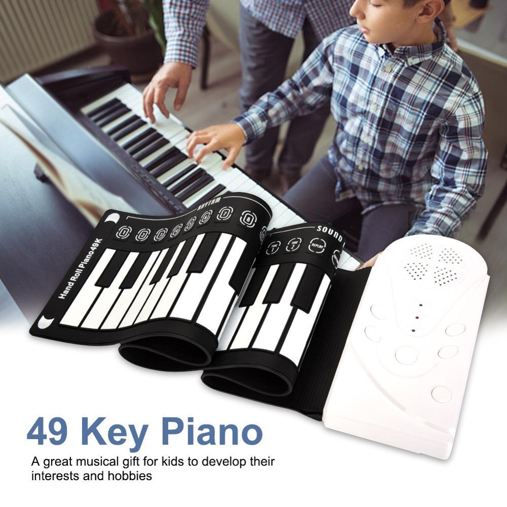 Portátil 49 teclas de piano rolo-up usb teclado midi conctroller mão eletrônico piano crianças prática rolo acima piano