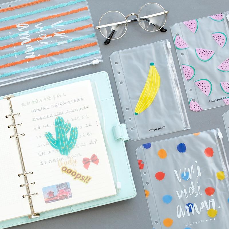 Fromthenon цветная ПВХ сумка на молнии разделители аксессуары для планировщика дневник A5A6 спиральная записная книжка сумка для хранения файлов ...