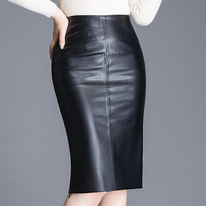 Women Sheepskin Skirt Wrap Hip Leather Over The Knee Leather Skirt Female High WaistSexy Split Package Hip Skirt Plus Size W532