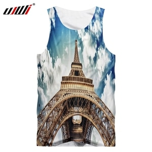 UJWI Adult Vest New 3D Print The Iron Tower Under The Sky Streetwear Big Size Attire Hombre Spring Tank Tops Wholesale