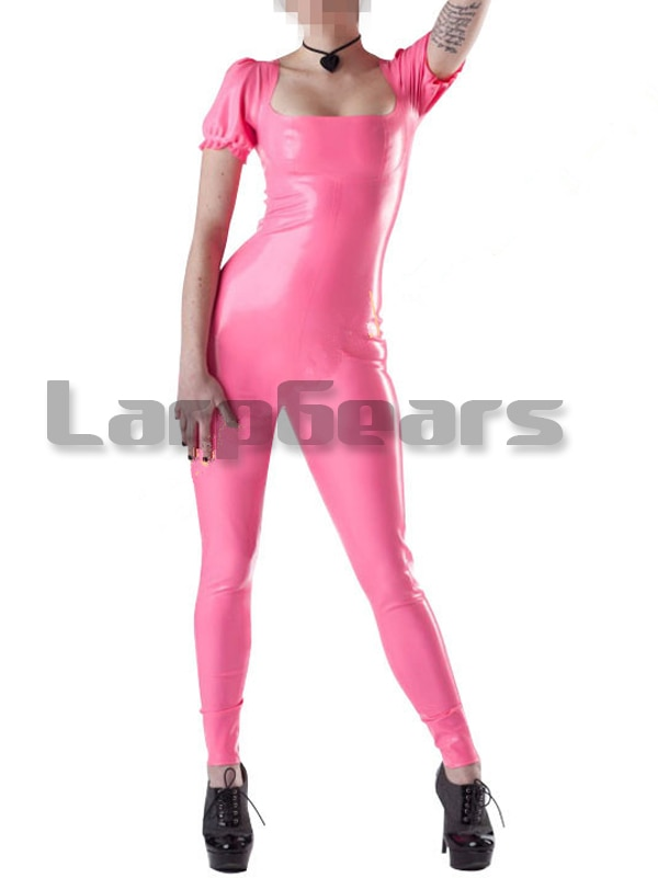 Pink Latex Catsuit Bodysuits Short Sleeve Rubber Latex Jumpsuit