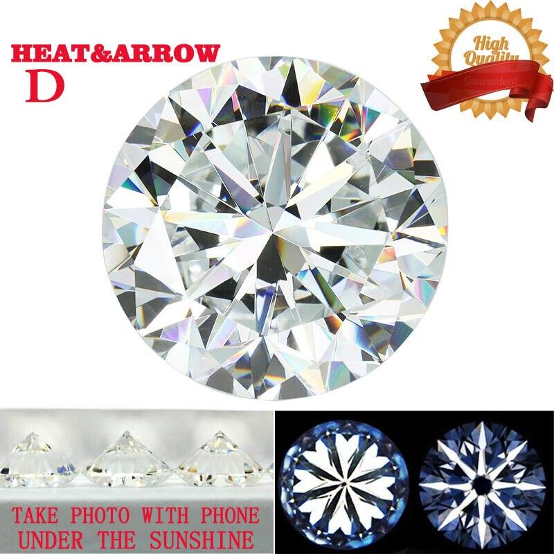 D اللون مويسانيتي فضفاض حجر مستدير بريليانت قص 50ct 23.5 مللي متر ويتي VVS1 قلوب السهام ممتاز قص مختبر نمت الماس