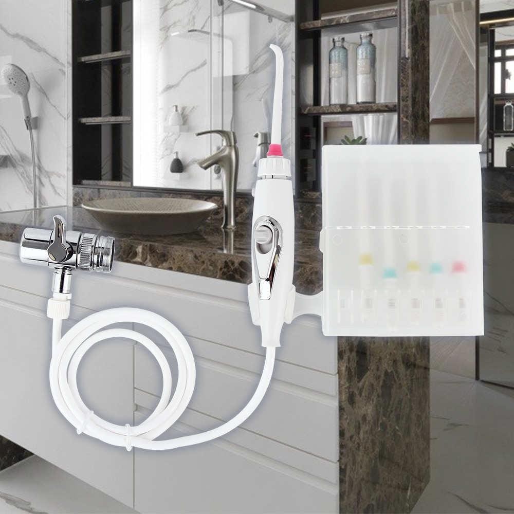 6 düse Wasserhahn Wasser Dental Flosser Oral Jet Irrigator Tragbare Floss Bewässerung SPA Zahn Reiniger Zahnbürste Zähne Bleaching