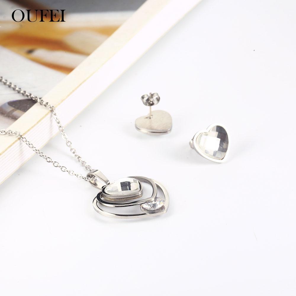 OUFEI, joyería de acero inoxidable para mujer, moda 2019, juegos de perlas, conjunto de pendientes, conjunto de joyas, accesorios, regalos para mujeres