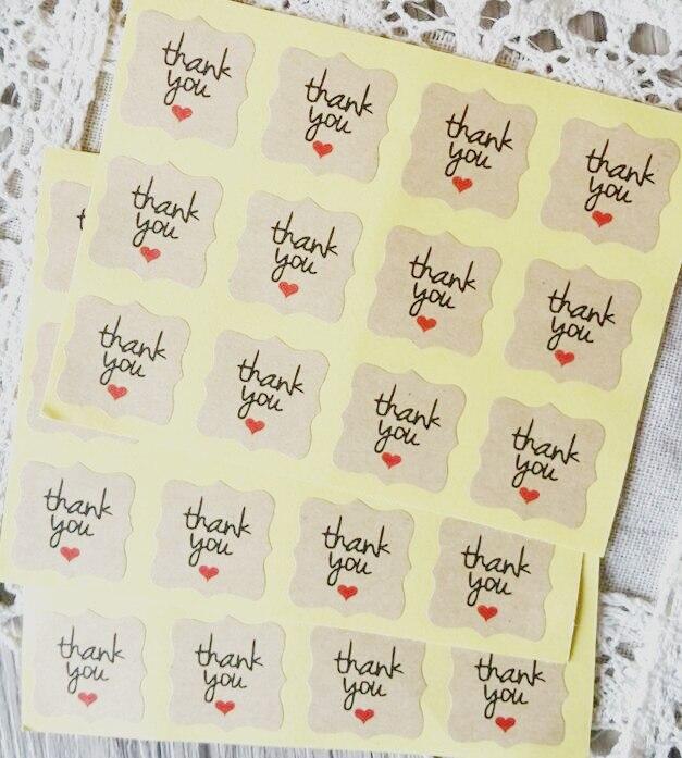 """1200 pz/lotto """"vi Ringrazio con cuore rosso"""" di carta kraft adesivi di tenuta per i prodotti fatti a mano FAI DA TE di imballaggio etichetta Adesiva sticker"""