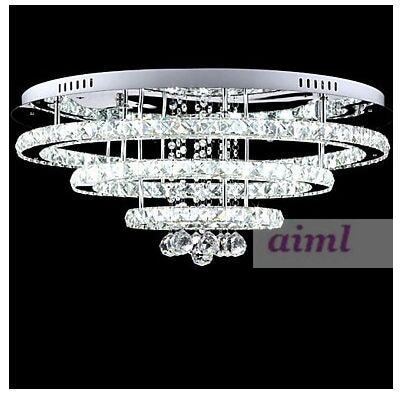 Hall Hotel LED Crystal Pendant Lights 300mm/500mm/700mm Stainless Steel with Remote Control One Light Two Style  - buy with discount