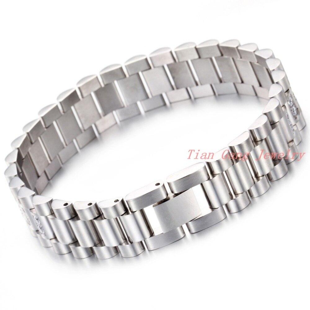 Модный браслет из нержавеющей стали с кристаллами, женский и мужской браслет в стиле панк-рок, повседневные спортивные часы с цепочкой, новы...