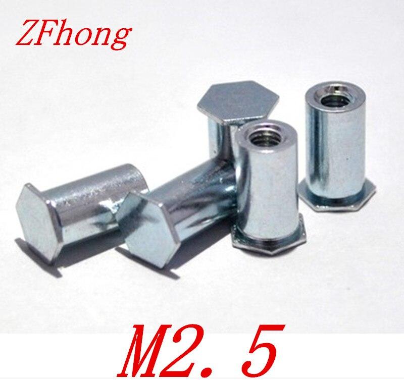 200 pcs M2.5 * 5/6/7/8/9/10/11/12/14/16/18/20 furo Cego pressão rebitagem stud pressão rebitagem porca coluna OD = 4.2mm