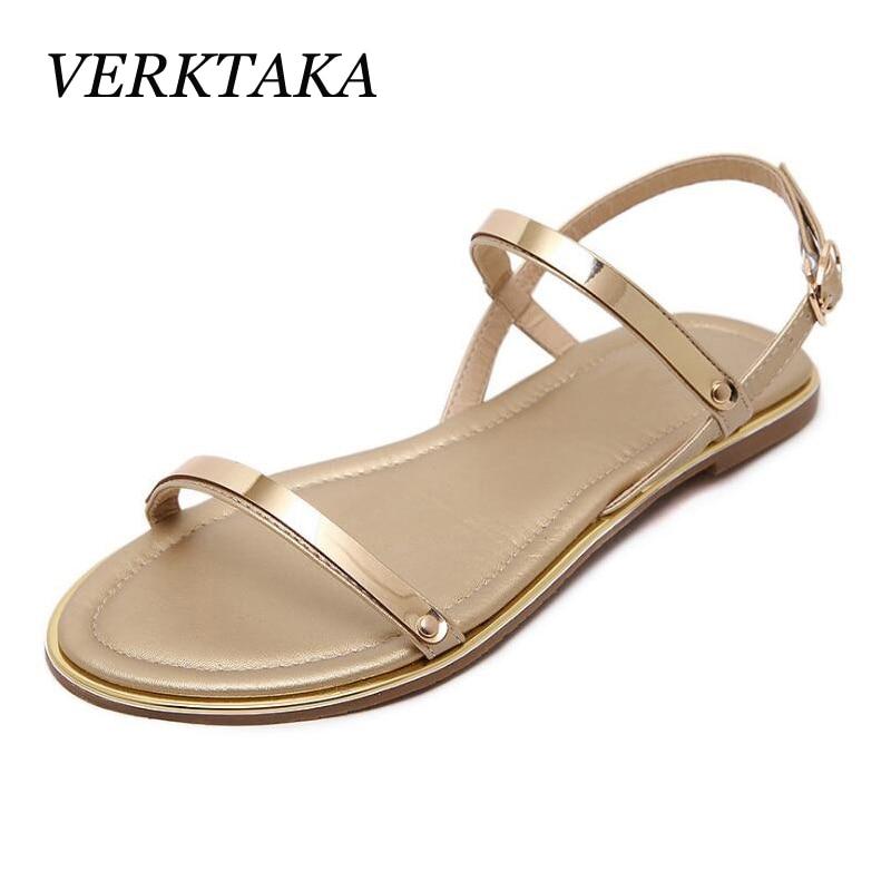 Women Sandals sexy thin belt flat sandals women summer gold sandal sandalias mujer high quality big size 34 - 43