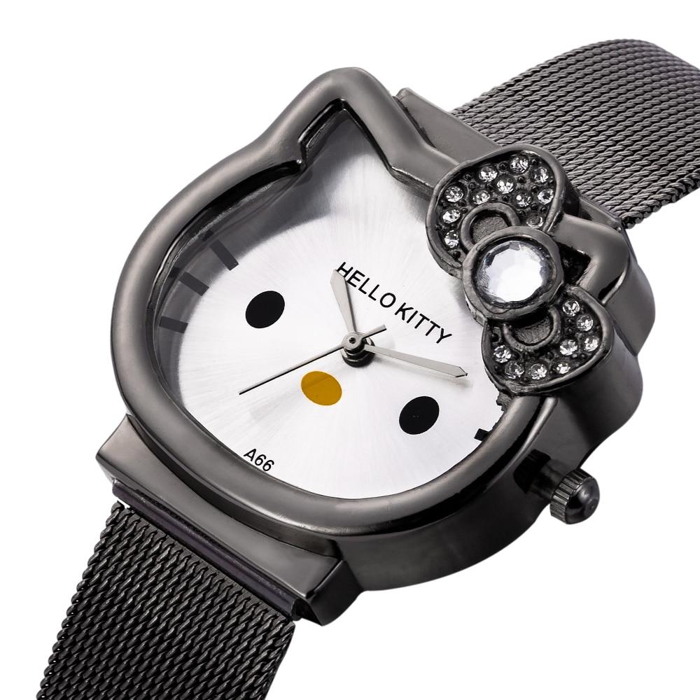 Детские часы-браслет со стразами с милым мультяшным животным циферблатом; часы для девочек из нержавеющей стали; классические студенческие...