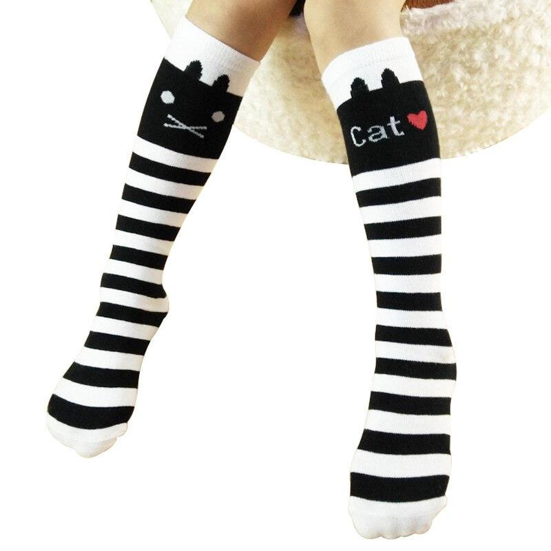 Calcetines hasta la rodilla para niñas, calcetines largos informales a rayas de gato para niños, calcetines largos de princesa elásticos de 3 a 12 años