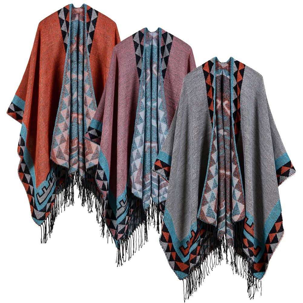 Otoño 2020 bufanda de invierno tipo chal para mujer, chal tejido, Poncho de imitación de Cachemira con patrón geométrico y borlas, capa larga cálida de gran tamaño, túnicas