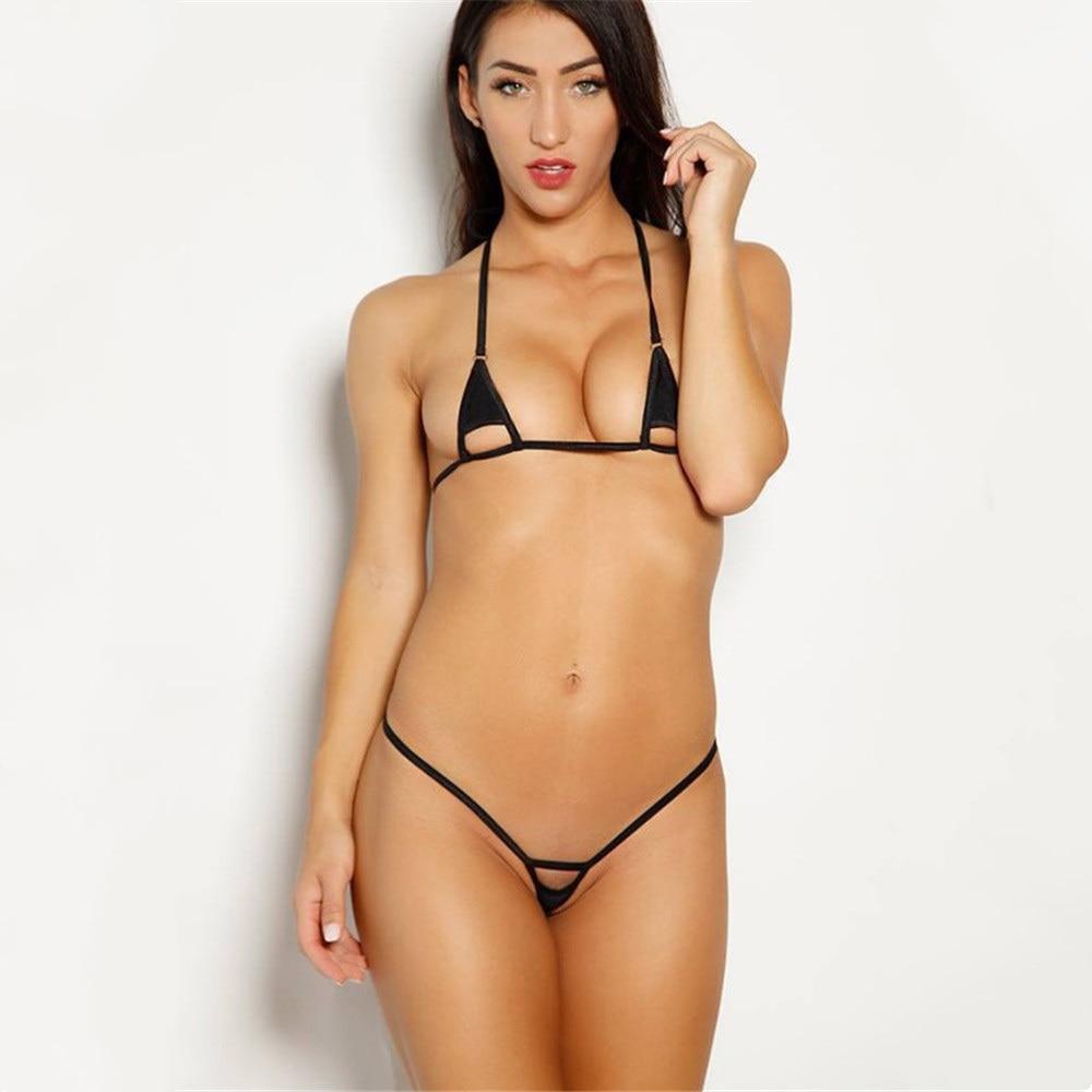 micro bikini 2019 Sexy Solid color Sling Hollow Lotion girl Beach Sunbathing swimwear women swimsuit