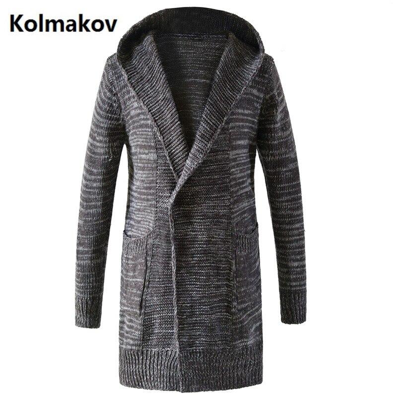 غوي شيانغ 2017 اسلوب جديد الشتاء الرجال الترفيه أزياء محبوك الرجال السترات عارضة معطف الرجال معطف الخندق واقية