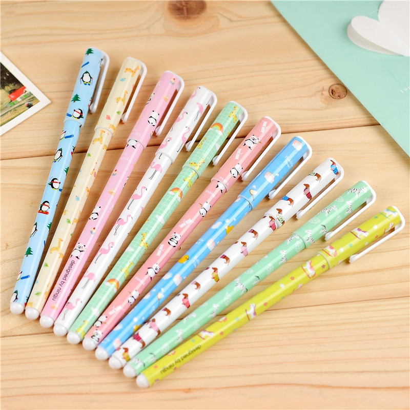 100 unids/lote lindo Animal Gel pluma chino bolígrafo atractivo Kawaii Zakka Caneta Papelaria Material Escolar suministro