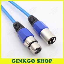 2 unids/lote azul 1,5 metros 3 P XLR Cable de micrófono macho a hembra Cables de extensión XLR 3 pines toma de enchufe conector de Cable de Audio
