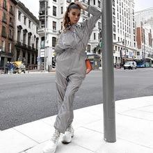 2019 primavera mujer alta cintura suelta rayas reflectantes Cargo Pantalones mujer Harajuku gris pantalones con bolsillos Streetwear Joggers