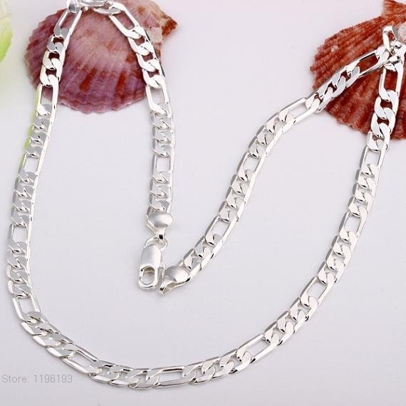 Женское ожерелье с цепочкой из Фигаро, серебряное покрытие 925 пробы, 35-70 см
