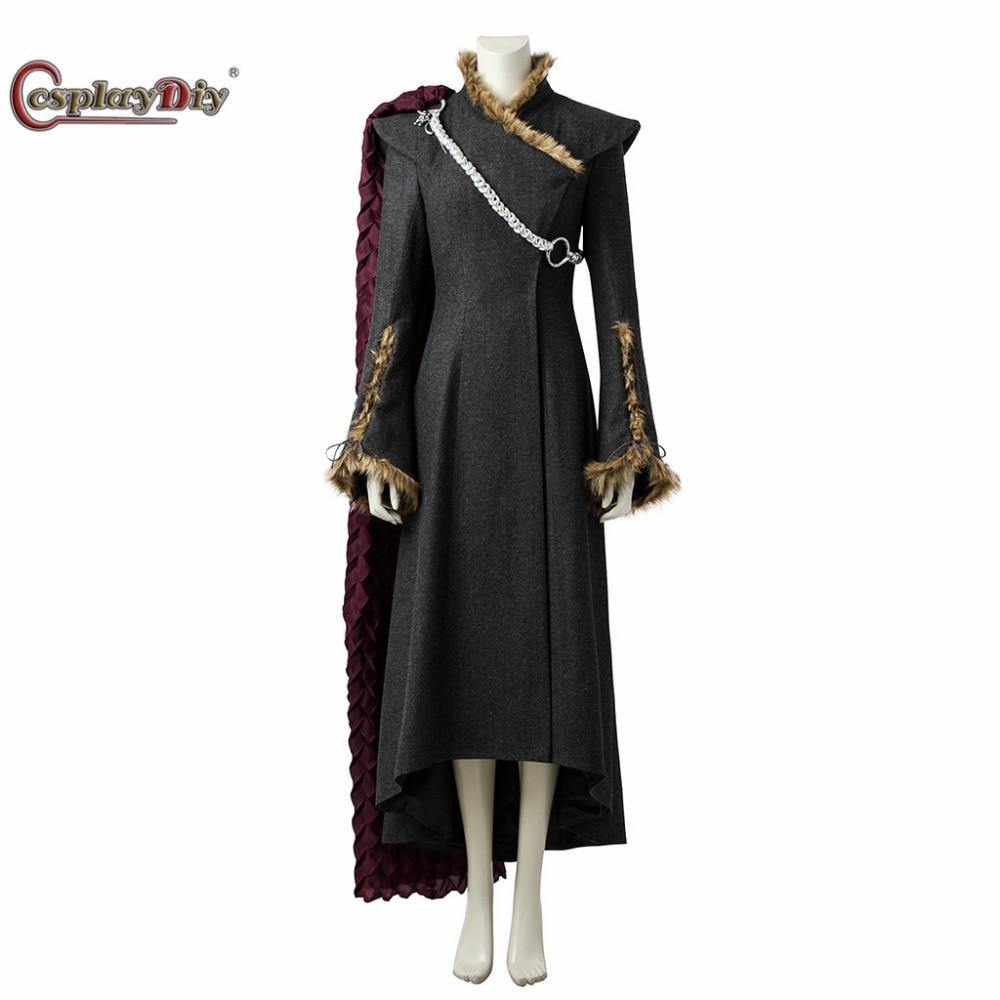 Disfraz de Juego de tronos, temporada 7, Daenerys Targaryen, abrigo, vestido, disfraz de Madre de dragón para mujer adulta, Halloween con capa roja