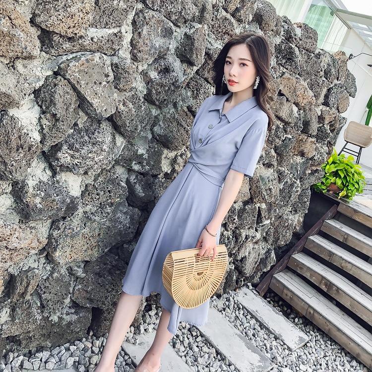 Vestido de verano estilo coreano nicho Retro cuello vuelto manga corta cintura alta Cruz lazo gasa medio sobre la rodilla vestido sólido