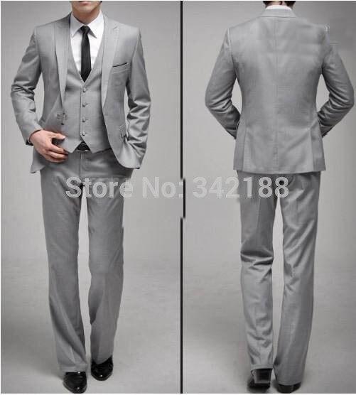 New Custom Made One Button Slim Fit Light Grey Groom Tuxedos Side Slit Groomsmen Men Wedding/Dinner Suits(Jacket+Pants+Tie+Vest)
