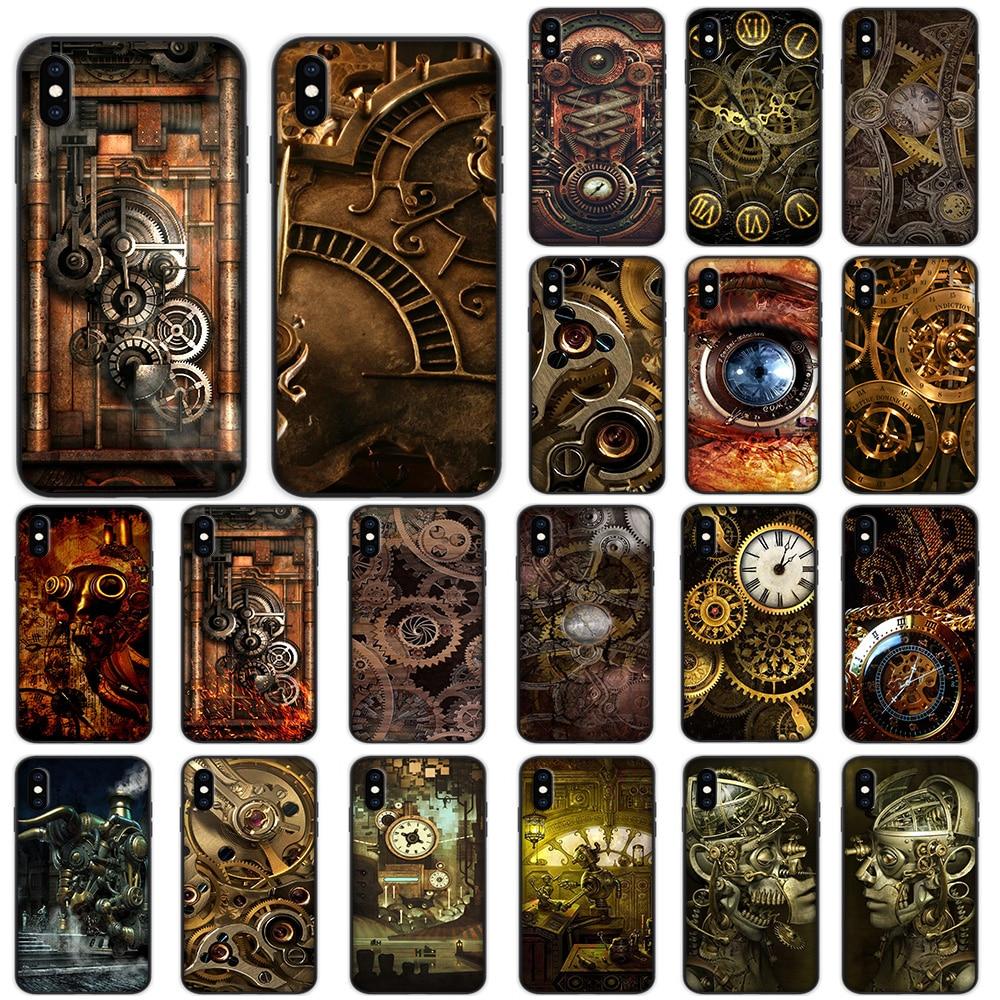 Engranajes estilo Steampunk suave para iPhone XS 11 Pro Max XR X 7 7 6 6S Plus funda
