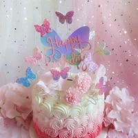 butterfly cake decorations blingbling colourful laser butterfly happy birthday cake topper dessert decor for party lovely gift
