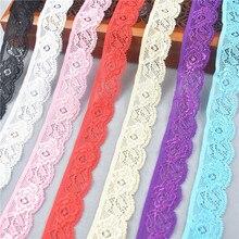 Ruban de dentelle élastique extensible de haute qualité 24mm de large dentelle blanche brodée de dentelle de coton extensible garnitures pour la couture