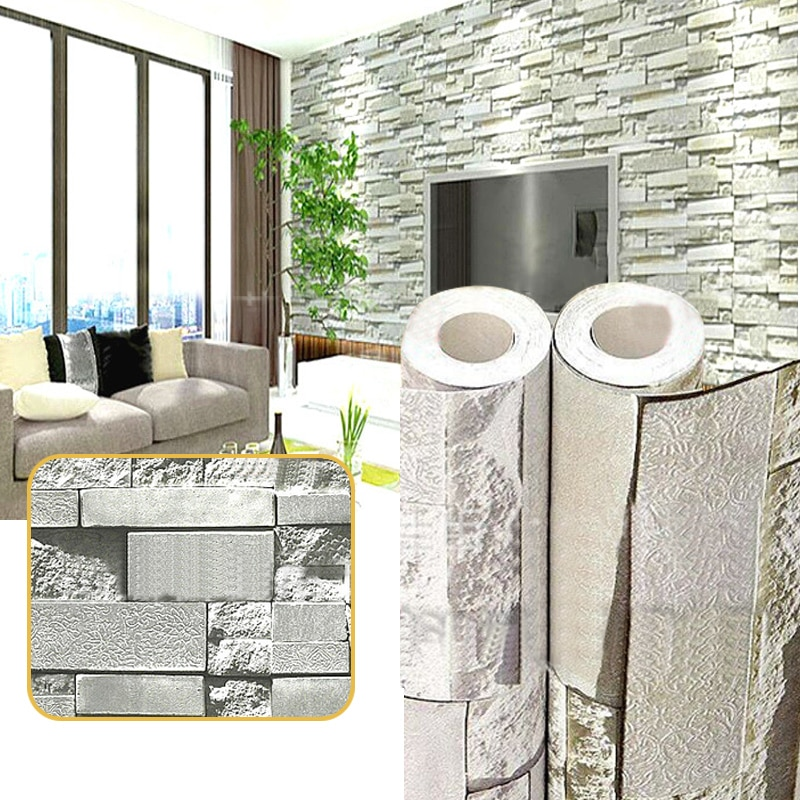 Pegatina de pared 3D de vinilo de ladrillo a prueba de agua, vinilo autoadhesivo de fondo para sala de estar, TV, adhesivos decorativos de PVC para Cocina