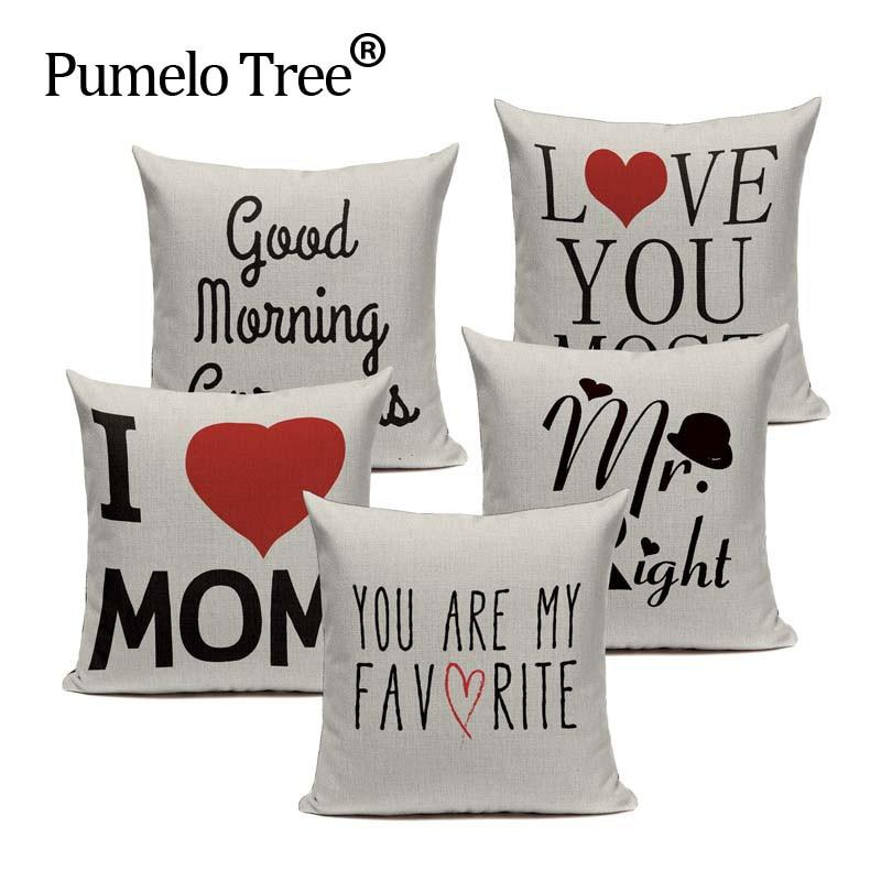 Funda de cojín de carta de amor de vida colorida de alta calidad, cojín decorativo, almohadas para sofá, coche, hogar, lino tejido, funda de almohada personalizada