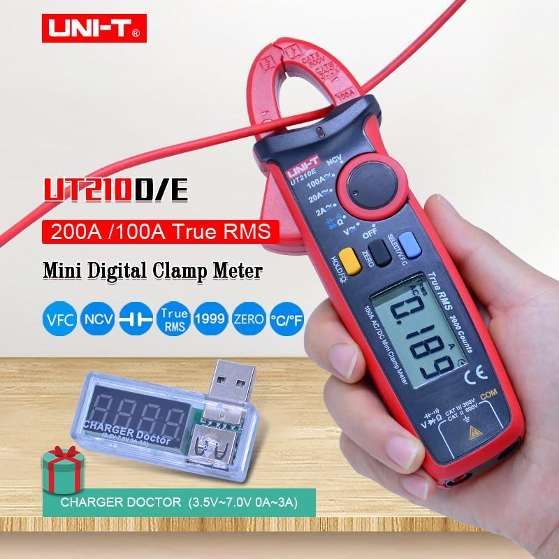 الرقمية المشبك متر UNI-T UT210E UT210D. صحيح RMS المتعدد. AC DC الجهد الحالي السعة تستر + USB الجهد مراقب الحالي