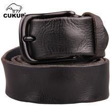 Cukup qualidade superior enrugamento padrão de pele vaca cintos de couro preto liga fecho fivela cinto de metal para homens jeans acessórios nck096
