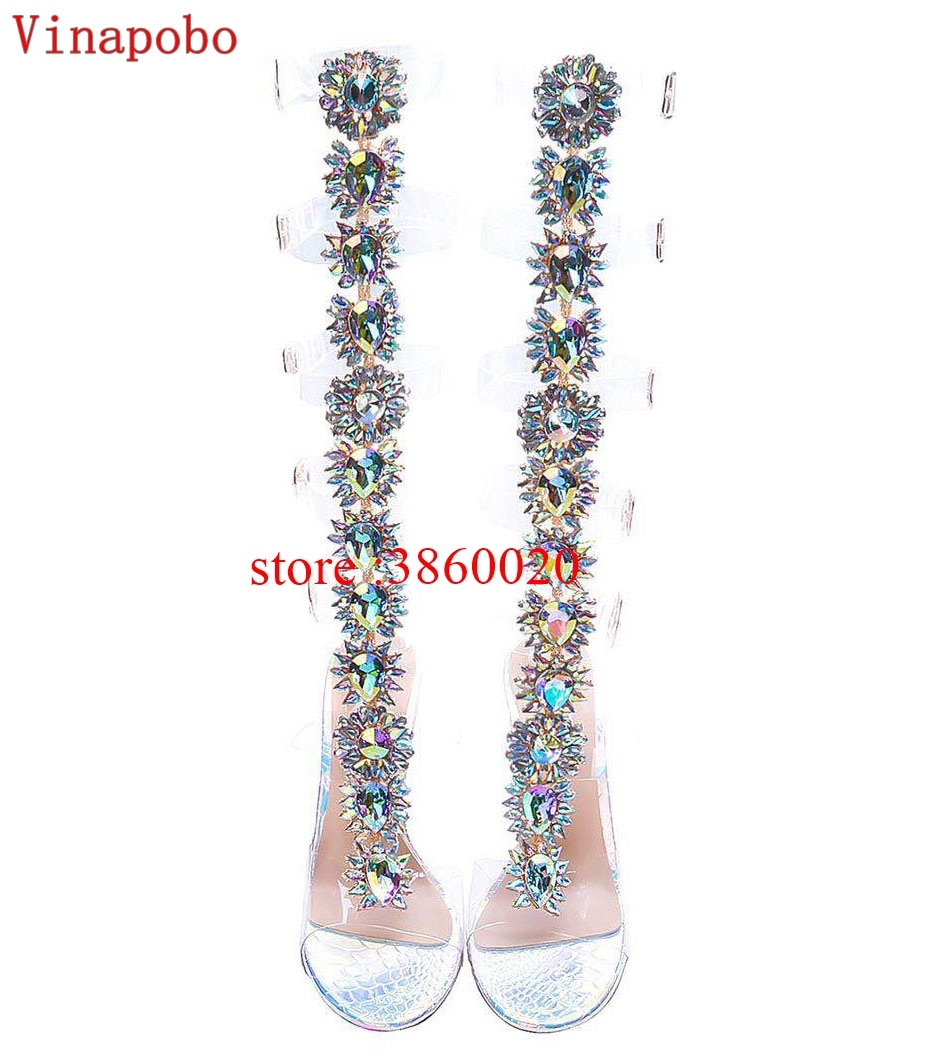 Long Hollow Women Summer Rhinestone Boots Sexy Open Toe Thin High Heel Crystal Sandals Over The Knee Buckle Strap Gladiator Shoe